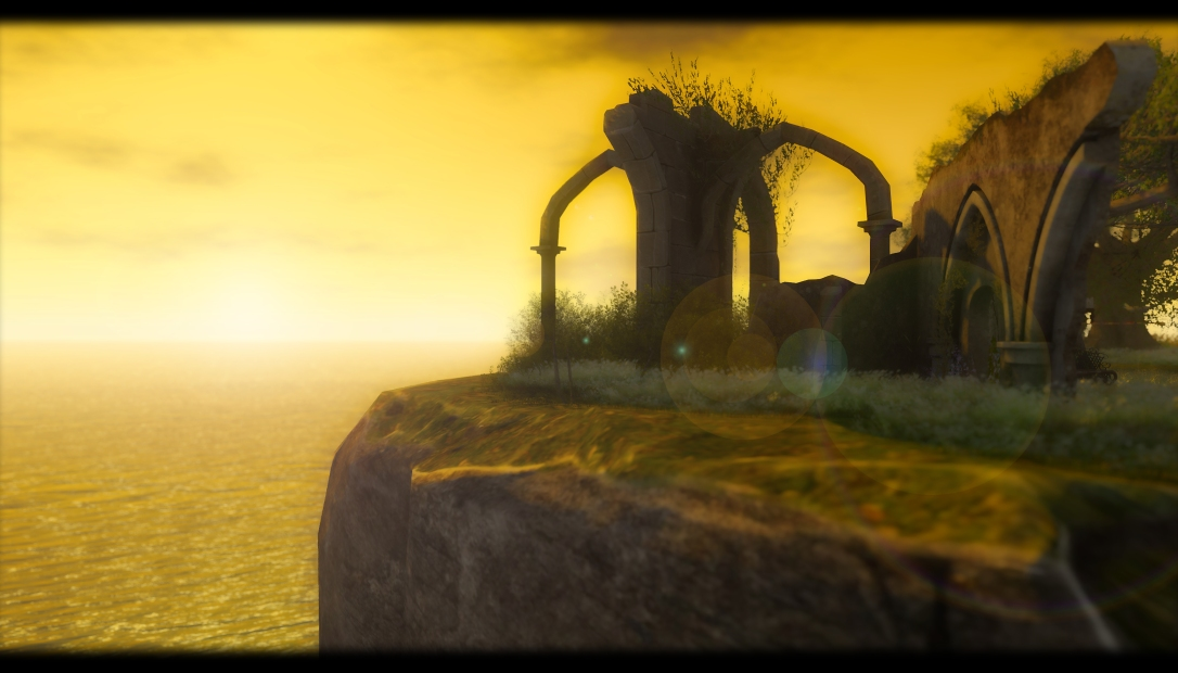 sunset on the ruins