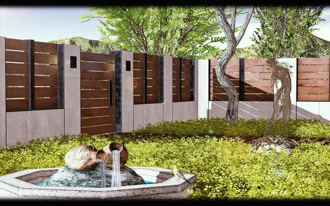 GOOSE - Concrete wood modern fence