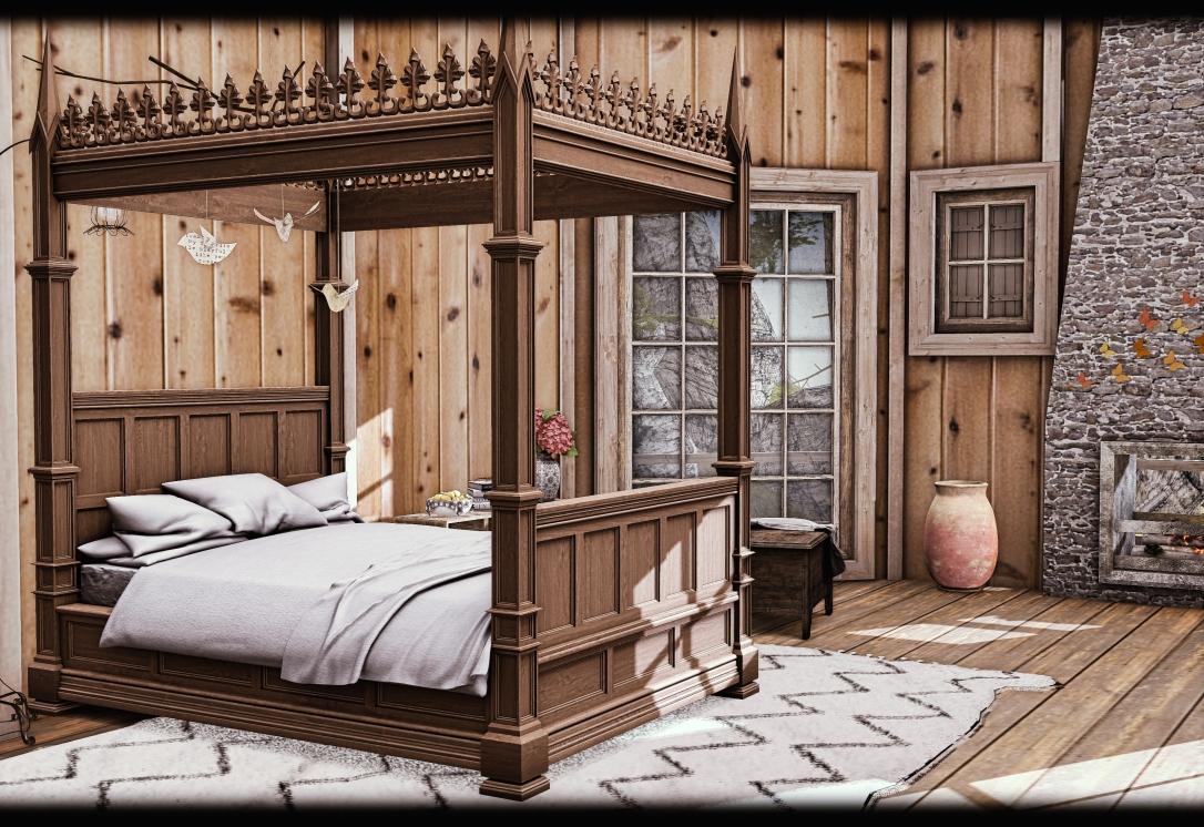 ChiMia - Oak Four Poster Bed