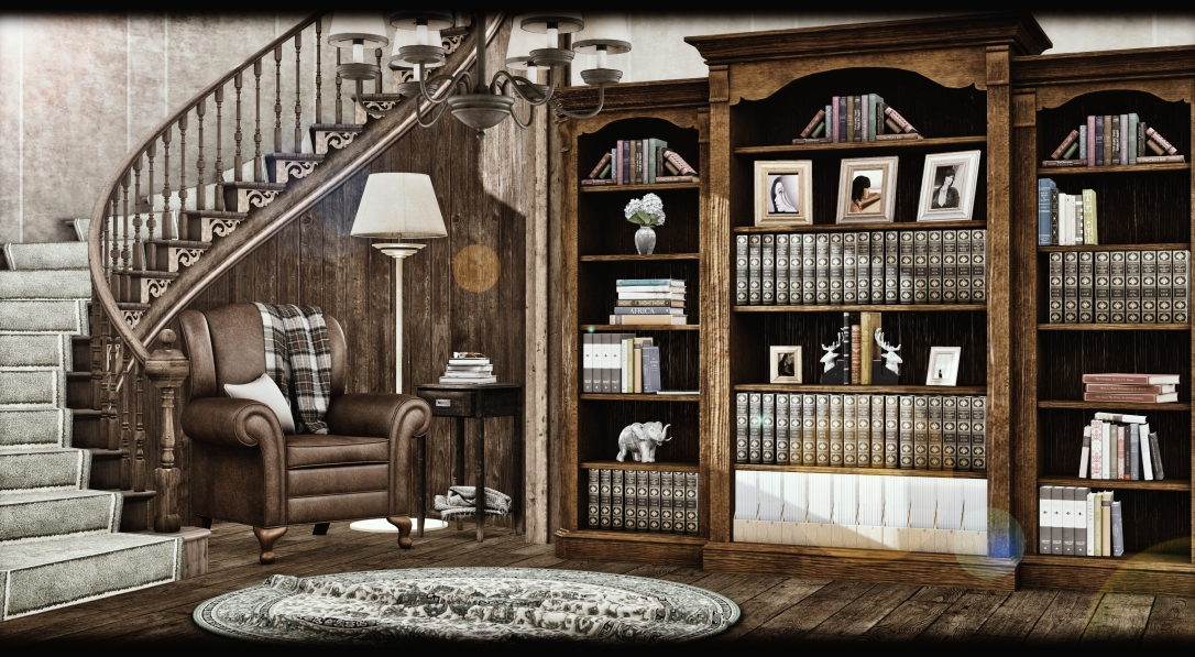 ChiMia - Triple Bookcase & Decor